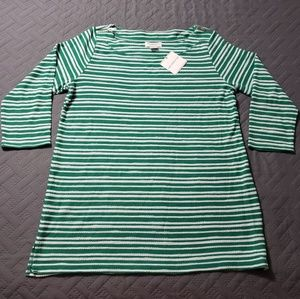 WOMEN'S Green/White striped long sleeved top.